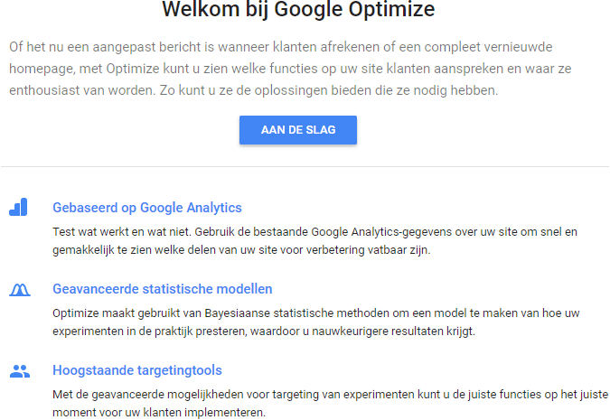 Google Optimize account aanmaken