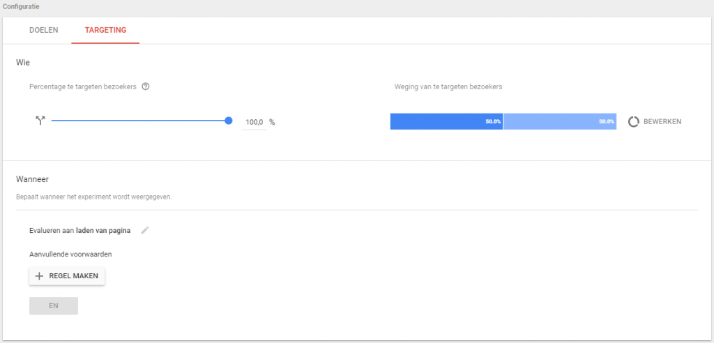 Google Optimize experiment configureren targeting
