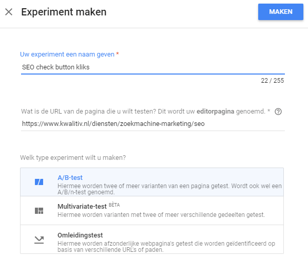 Google Optimize experiment maken