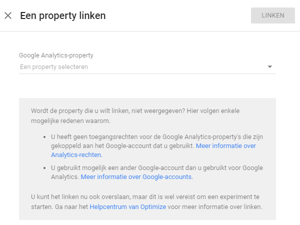 Google Optimize linken aan Google Analytics property