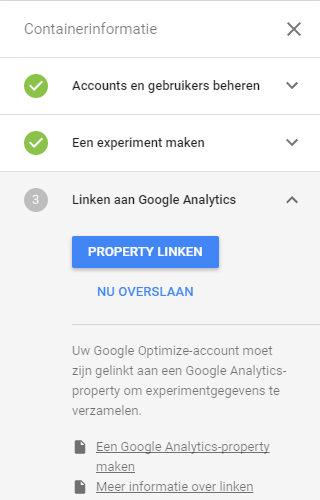 Google Optimize linken aan Google Analytics