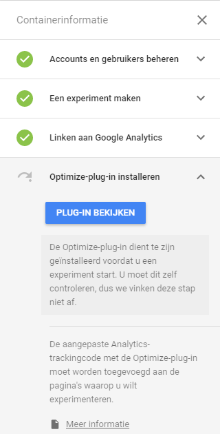 Google Optimize plugin installeren