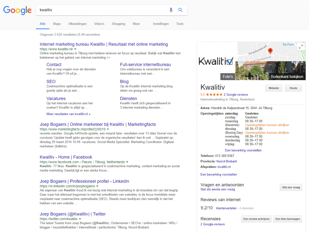 Local SEO voorbeeld externe reviews
