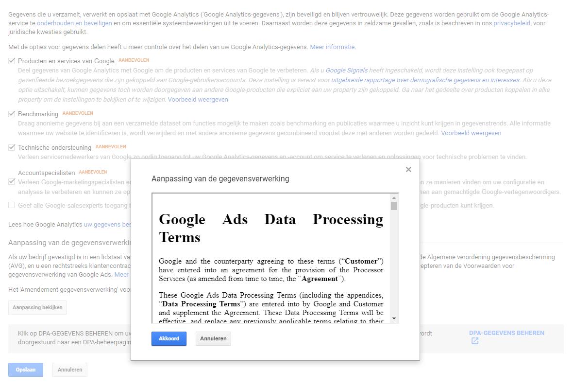 Verwerkersovereenkomst sluiten met Google